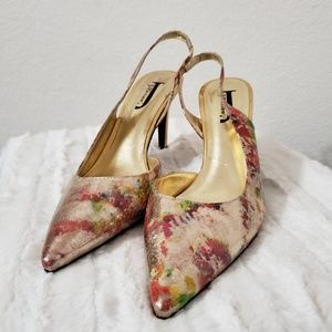 ️•J. Renee•Gold, crackle abstract shoes•size 9.5 for sale